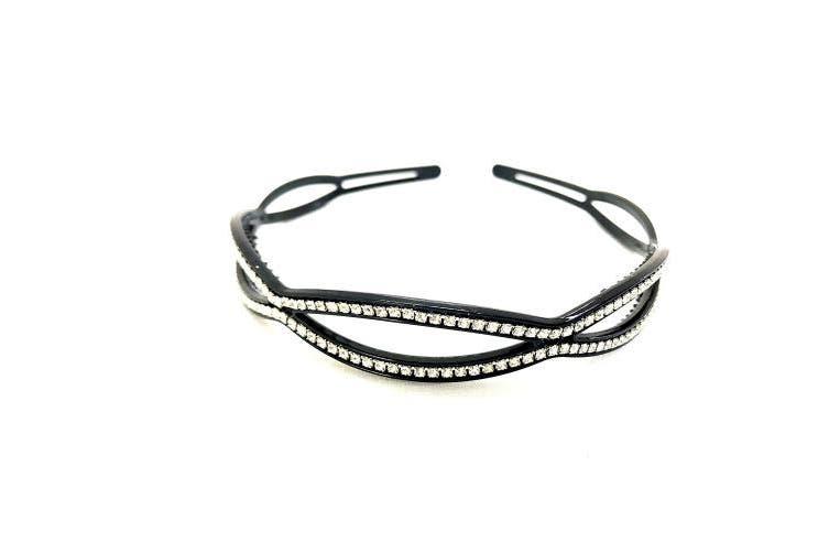 (Wave) - MeeTHan Crystal Rhinestone Diamond Black Headband: H26 (Wave)