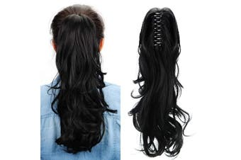 (Easten Black) - Aicker Long Curly Wavy Claw Ponytail (Easten Black)