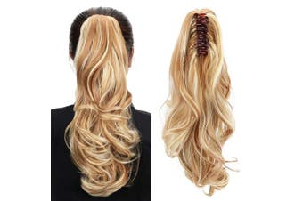(Blonde With Brown) - Aicker Long Curly Wavy Claw Ponytail (Blonde With Brown)