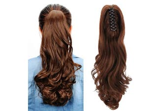 (Light Brown) - Aicker Long Curly Wavy Claw Ponytail (Light Brown)