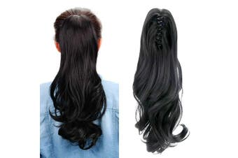 (Classical Black) - Aicker Long Curly Wavy Claw Ponytail (Classical Black)