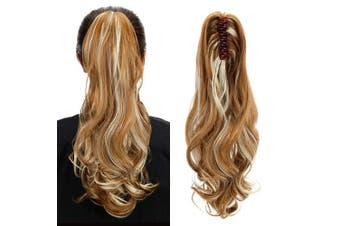 (Blonde Mixed Brown) - Aicker Long Curly Wavy Claw Ponytail (Blonde Mixed Brown)