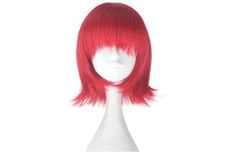 (Red) - Unisex Synthetic Short Straight Bob Hair Adult Lolita Cosplay Costume Wig Halloween (Red)