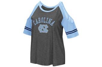 (Small, North Carolina Tar Heels) - Colosseum NCAA Women's Casual Cold Shoulder Short Sleeve T-Shirt-Heather Charcoal
