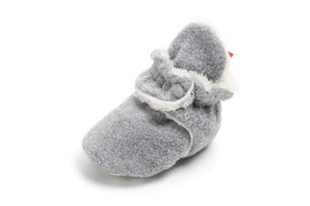 (12-18 Months, A-light Gray) - Sabe Infant Boys Girls Warm Fleece Ankle Booties Soft Sole Unisex Strap Slippers First Pram Non-Skid Winter Baby Shoes Christmas First Birthday Gift Beige
