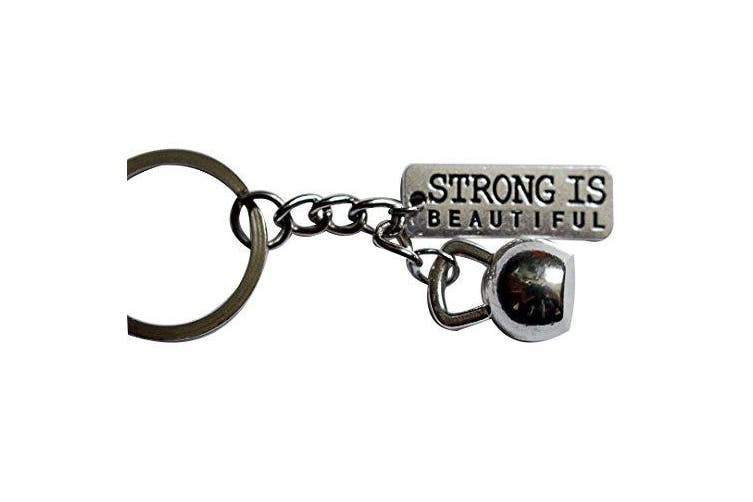 (Silver) - Kettlebell + Strong Is Beautiful Keychain
