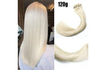(41cm , #60 Platinum Blonde/120g) - Clip in Hair Extensions 120 Grams120ml 100% Brazilian Remy Human Hair Extensions 9A Thickened Soft Silky Straight for Fashion Women 7pcs 17clips Full Head(41cm Platinum Blonde #60)