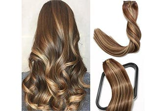 (46cm , #4P27 Medim Brown/Dark Blonde) - Clip in Hair Extensions 120G 100% Brazilian Remy Human Hair Extensions 9A Thickened Soft Silky Straight for Fashion Women 7pcs 17clips Full Head (46cm Balayage Natural Black to Honey Blonde)
