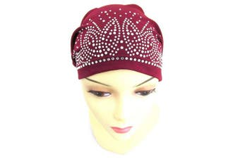 (Burgundy) - BT Rhinestone Scarf Head Wrap Cap (Burgundy)