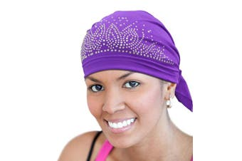 (Purple) - BT Rhinestone Scarf Head Wrap Cap (Purple)
