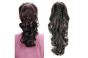 (Natural Black) - Aicker Long Curly Wavy Claw Ponytail(Natural Black)