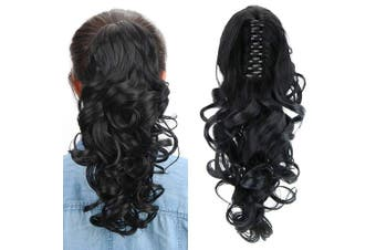 (Black) - Aicker Long Curly Wavy Claw Ponytail (Black)
