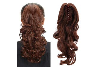 (Brown) - Aicker Long Curly Wavy Claw Ponytail (Brown)