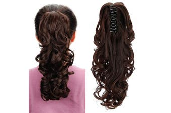 (Dark Brown) - Aicker Long Curly Wavy Claw Ponytail (Dark Brown)