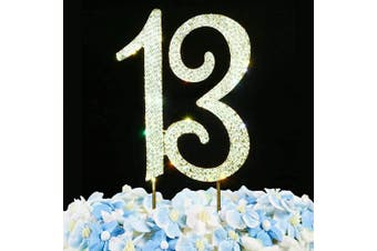 (13 Cake Topper) - 13 Cake Topper | Premium Bling Rhinestone Diamond Gems | 13th Birthday or Anniversary Party Decoration Ideas | Quality Metal Alloy | Perfect Keepsake …