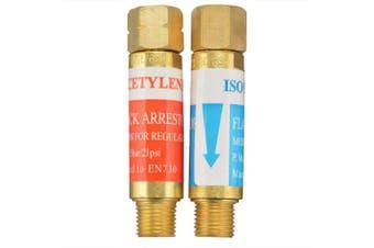AGPTEK Oxygen Acetylene Flashback Arrestors Set Regulator End 9/16 -18 Threads B Size