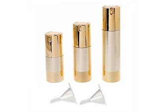 (Gold) - Rocutus 3pcs/set Empty Airless Cosmetic Bottle Plastic Pump Container for Travel (gold)