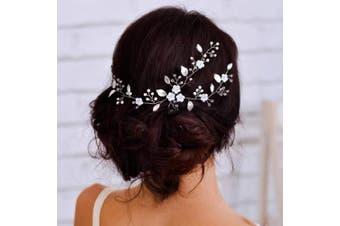 Barogirl Wedding Headpiece Floral Hair Vine Wedding Rhinestone Headband for Brides and Bridesmaids BDT-14