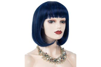 (deep sea blue) - Annivia Navy Blue Short Bob Wigs for Women 30cm Heat Resistant Synthetic Straight Wigs with Bangs Cosplay Blue Wig Natural As Real Hair (Navy Blue)