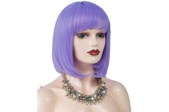 (lavender purple) - Annivia Lavender Purple Short Bob Wig for Women 30cm Heat Resistant Synthetic Straight Wigs with Bangs Halloween Cosplay Party Wig Natural As Real Hair Lavender Purple Wig for Women (Lavender Purple)