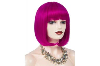 (burgundy) - Annivia Hot Pink Short Bob Wig with Bangs for Women 30cm Heat Resistant Synthetic Straight Wigs with Bangs Halloween Cosplay Party Wig Natural As Real Hair (Hot Pink)