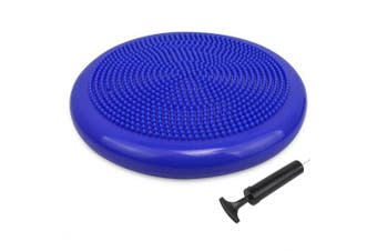 (34 cm Royal Blue) - Trideer Inflated Stability Wobble Cushion with Pump(Multiple Colours),Extra Thick Flexible Seating Classroom, Core Balance Disc, Wiggle Seat for Sensory Kids (Office & Home & School)