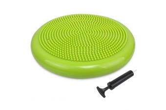 (34cm New Yellow Green) - Trideer Inflated Stability Wobble Cushion with Pump(Multiple Colours),Extra Thick Flexible Seating Classroom, Core Balance Disc, Wiggle Seat for Sensory Kids (Office & Home & School)