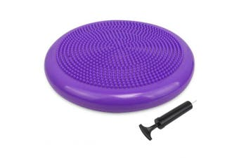 (34cm New Purple) - Trideer Inflated Stability Wobble Cushion with Pump(Multiple Colours),Extra Thick Flexible Seating Classroom, Core Balance Disc, Wiggle Seat for Sensory Kids (Office & Home & School)