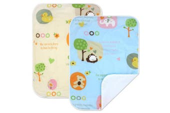(L :60cm  x 70cm , Cartoon Set,2 Units) - PEKITAS 2 Pack Waterproof Nappy Changing Pads Travel Friendly Super Soft Fabric Size 60cm X 70cm (Large,1-3 Year),Cartoon Series