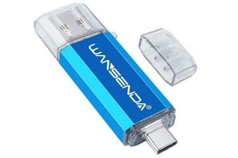(64GB, Blue) - Wansenda OTG USB Memory Stick USB 3.0 & Type-C High Speed USB Flash Drive 64GB 2 in 1 Pen Drive For Type-C Android Devices/PC/Mac (64G,Blue)