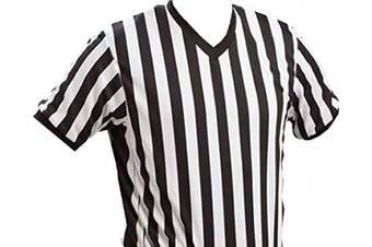 (Small, Black/White) - 3N2 V-Neck Basketball Referee Shirt