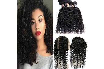 """(12""""14""""16""""&10"""") - BQ HAIR Deep Curly 360 Frontal with Bundles 8A 100% Virgin Brazilian Human Hair-3 Bundles with 360 Lace Frontal Pre Plucked (12""""14""""16"""" & 10"""")"""