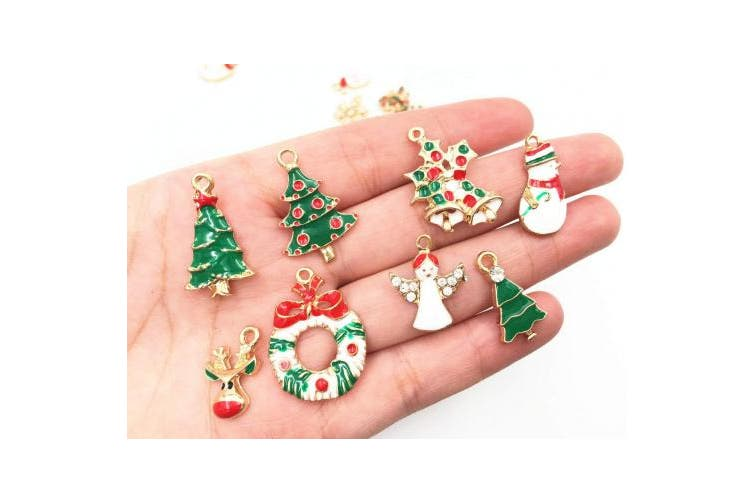 (Christmas Style(19PCS)) - 19pcs Mixed Christmas Charm Enamel Gold Toned Rhinestone Inlaying Pendant for DIY Jewellery Making Xmas Decorative Accessories by Alimitopia
