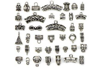 (mixed styles) - 40pcs Alloy Beads Bails Charm Pendant Connector Hanging Adaptor for DIY Necklace Bracelet Jewellery Making(Tibetan Silver)