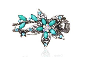 (Blue) - Buankoxy Women's Petal Crystal Hair Clips Hairpins- For Hair Clip Beauty Tools (Blue)