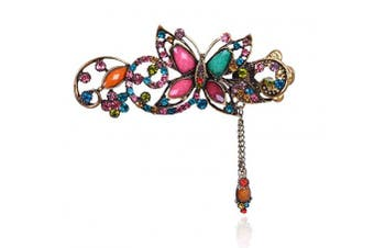 (Multicolor) - Buankoxy Women's Vintage Crystal Butterfly Hair Clip Head Wear- For Hair Clip Beauty Tools (Multicolor)