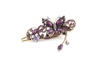 (Purple) - Buankoxy Women's Vintage Crystal Butterfly Hair Clip Head Wear- For Hair Clip Beauty Tools (Purple)