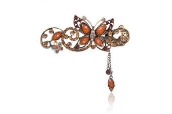(Coffe) - Buankoxy Women's Vintage Crystal Butterfly Hair Clip Head Wear- For Hair Clip Beauty Tools (Coffe)