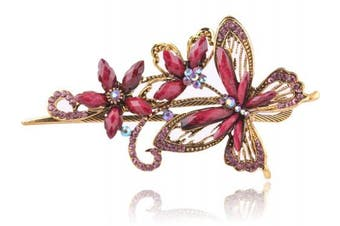 (Purple) - Buankoxy Vintage Elegant Jewellery Crystal Hair Clips Hairpins Butterfly - For Hair Clip Beauty Tools (Purple)