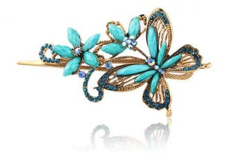 (Blue) - Buankoxy Vintage Elegant Jewellery Crystal Hair Clips Hairpins Butterfly - For Hair Clip Beauty Tools (Blue)