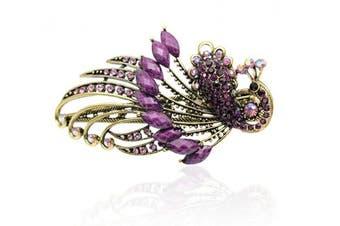 (Purple) - Buankoxy Women's Vintage Crystal Peacock Hair Clip Head Wear- For Hair Clip Beauty Tools (Purple)