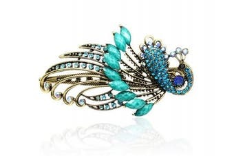(Turquoise Blue) - Buankoxy Women's Vintage Crystal Peacock Hair Clip Head Wear- For Hair Clip Beauty Tools (Turquoise Blue)