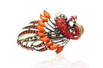 (Orange) - Buankoxy Women's Vintage Crystal Peacock Hair Clip Head Wear- For Hair Clip Beauty Tools (Orange)