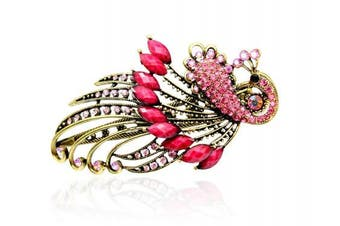 (Pink) - Buankoxy Women's Vintage Crystal Peacock Hair Clip Head Wear- For Hair Clip Beauty Tools (Pink)