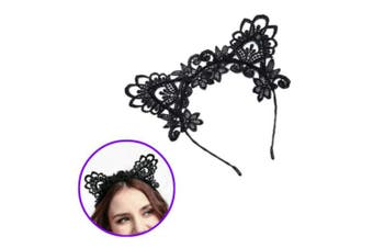 Aysekone New Cute Water Soluble Black Lace Cat Ears Headband Sexy Hair Clips Hair Hoop Party Hair Accessories for Women Girls