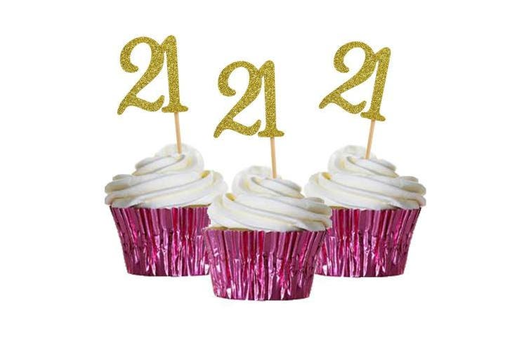HZOnline Cupcake Cake Toppers 21st Birthday, Golden Glitter Number 21, Adult Ceremony Birthday Celebrating, Anniversary Party Decor (24PCS)