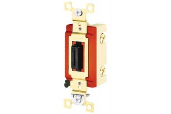 (Double Pole) - Bryant Electric 4902L Locking Type Switch, Fork Straight-Key, Double Pole, Industrial Specification Grade, Back and Side Wired, 20 Amp, 120/277V, Black