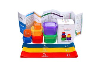 (7 Piece & 3 Bands) - 80 Day Equipment - Resistance Loop Exercise Bands with 21 Day Portion Control Container kit - Exercise Guide & Recipes included