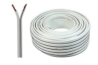 (30 Meters, White) - Auline® 20 AWG Speaker Cable Wire Figure 8 Stranded 10m 20m 30m 50m 100m (30 Metres, White)