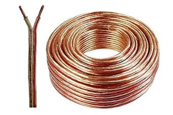 (50 Meters, Transparent) - Auline® 20 AWG Speaker Cable Wire Figure 8 Stranded 10m 20m 30m 50m 100m (50 Metres, Transparent)
